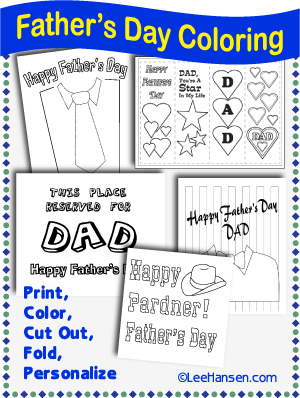 Printable fathers day coloring pages by LeeHansen.com