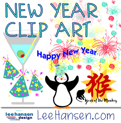 New year clip art collection at LeeHansen.com