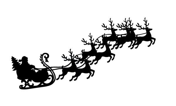 Santa sleigh and reindeer flying with sleigh clip art, LeeHansen.com