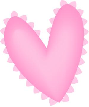 Valentine Clip  on Pink Ruffles Valentine Heart Clip Art