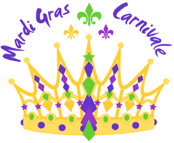 Mardi Gras Crown clip art with Carnivale and Mardi Gras word art ...
