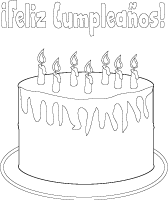 Birthday cake line art spanish