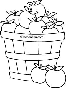 Basket of Apples Farm Stand Coloring Sheet