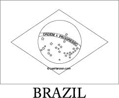 Brazil Flag Line Art