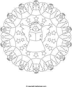 angels mandala coloring page