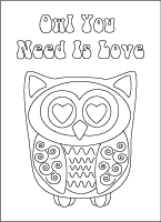 Love is Owl You Need printable coloring card, LeeHansen.com