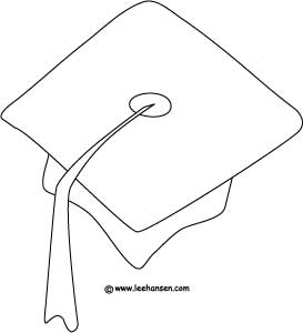 school graduation cap coloring page