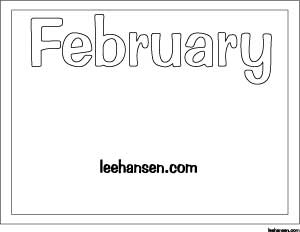 february bubble letters coloring sheet