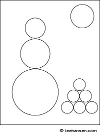 Circle Shapes Snowman Worksheet Coloring Page