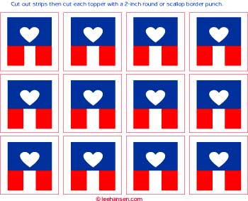 cupcake toppers - flag with heart