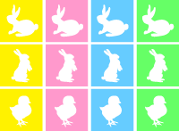 Easter mini flag cupcake topper stickers