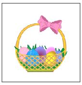 Easter eggs in basket food flag cupcake toppers