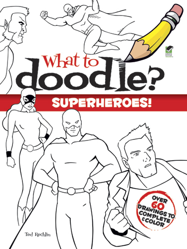 Superheroes doodle drawing color book