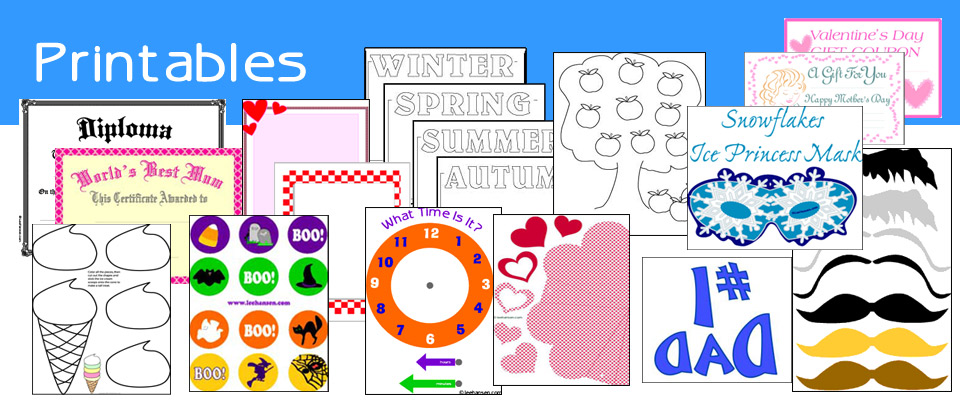 Printable craft sheets, worksheets, stationery, gifts