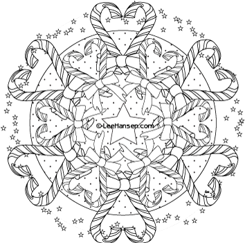 Christmas mandala coloring page candy cane hearts design for Christmas coloring pages for teens