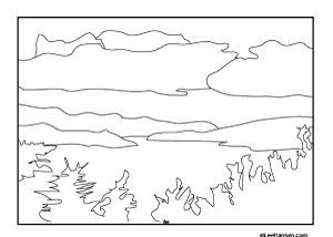 lake champlain vermont landscape coloring page