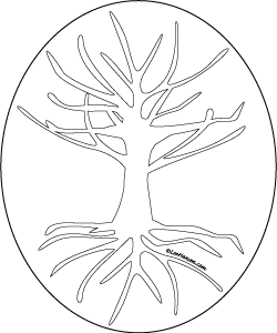 Tree of Life Design Coloring Page Art Template