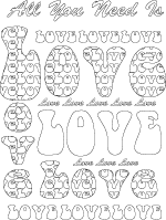 Love word art coloring poster
