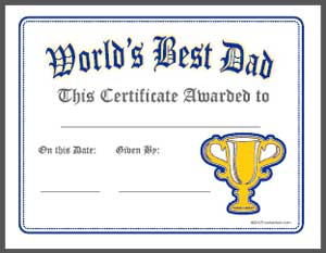 world s best dad certificate printable