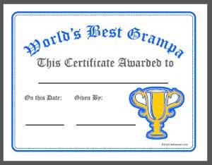 Worlds Best Grandpa Award Certificate Printable