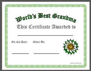 Worlds Best Grandma Certificate Printable