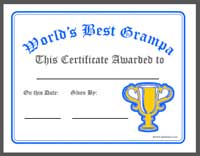 Printable awards certificates diplomas best grampa certificate printable yadclub Image collections