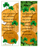 Irish coins and shamrocks printable bookmarks