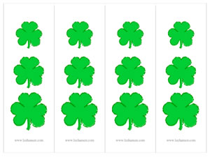 St. Patrick's Day bookmarks, shamrocks design