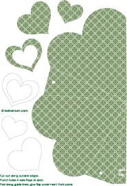 Green pattern heart shaped box paper craft die cut template