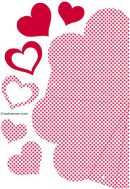 red dots heart shaped box die cut template