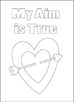 Heart and arrow coloring card valentine craft sheet