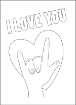 sign language i love you coloring card printable