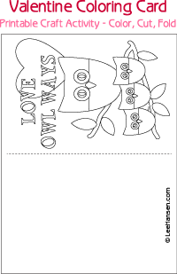 Love owl ways coloring valentine card