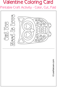 Owl you need is love printable coloring card