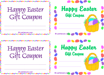 Printable easter gift coupons 4 per sheet easter gift coupons printable page negle Gallery