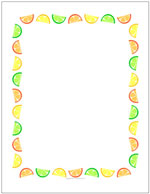 Citrus fruits border sheet or invite