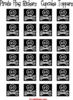 picture regarding Pirate Flag Printable known as Skull and Bones Cupcake Toppers