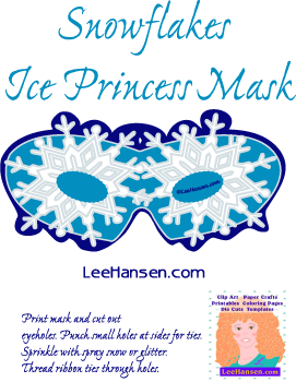 Printable ice princess snowflake eye mask craft.