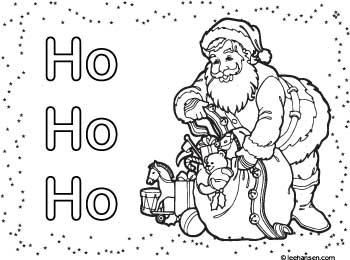 Chrismtas place mat coloring sheet, Santa Claus