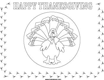 thanksgiving turkey placemat coloring page