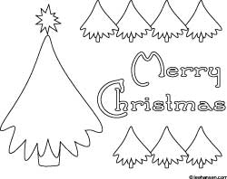 Merry Christmas tree coloring place mat or poster, LeeHansen.com