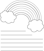 Rainbow Shape Coloring Sheet With Lines For Writing