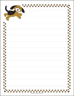photo relating to Printable Letter Paper identify Dog Puppy and Paw Prints Border Paper