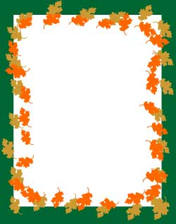 image relating to Printable Border Paper titled Printable Border Paper Oak Leaves Stationery