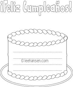 more birthday coloring pages birthday cake writing paper with lines feliz cumpleanos - Feliz Cumpleanos Coloring Pages