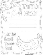 mardi gras border paper coloring sheet
