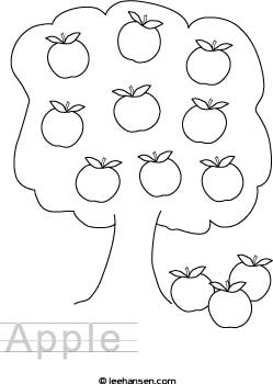 Apple Tree Activity Worksheet Paper with Traceable Letters