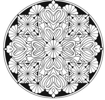 Sample Coloring Page From Dover Creative Haven Stained Glass Kaleidoscopic Designs