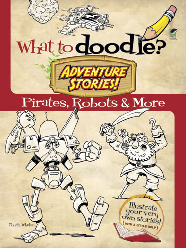 Pirates and robots doodle art coloring book