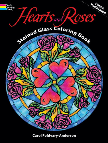 Hearts and Roses design coloring book
